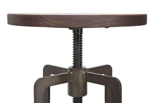 A sgabello design industriale vintage in ferro e seduta