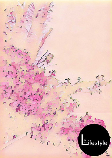 Santorini - Watercolour Flowers, Collided Version