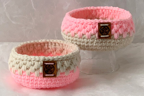 Two Tiny Crochet Basket Set