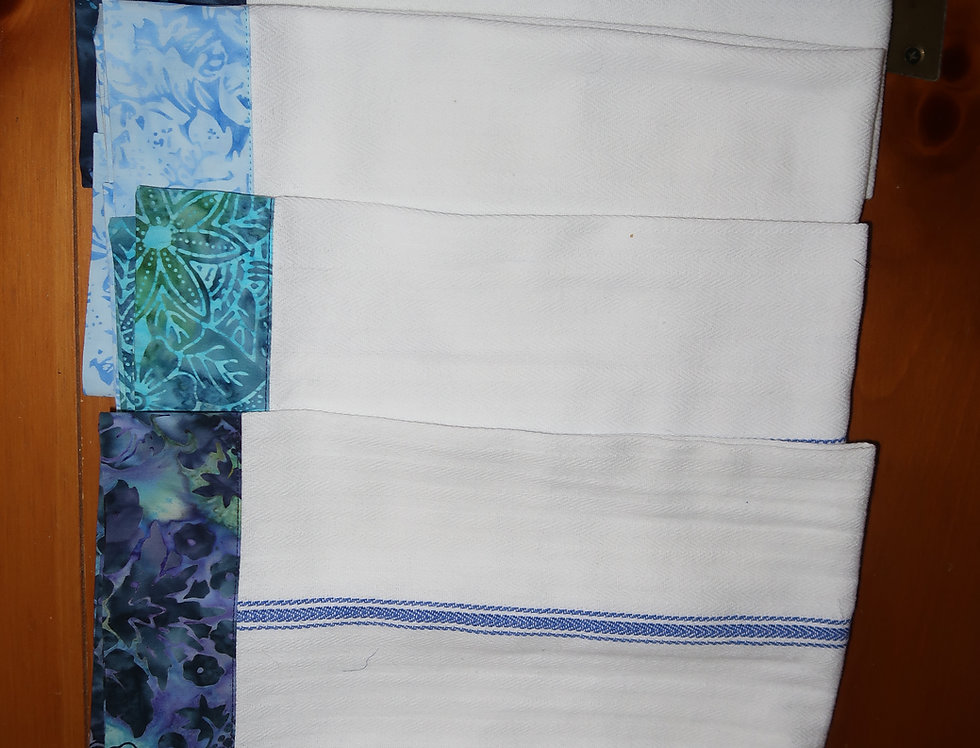 Boho kitchen towels blue stripe