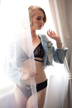 lingerie and denim jacket window boudoir photo