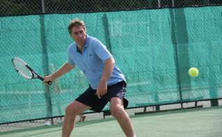 Gary playing a forehand
