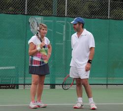 Sue and Ben talking tactics