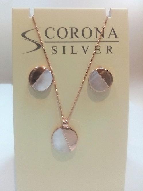 Rose Gold Pendant & Earring Set