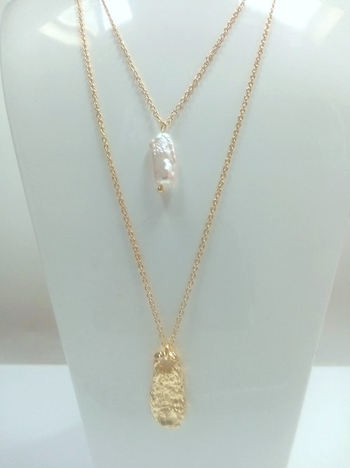Double Chain Necklace with Fresh Water Pearl