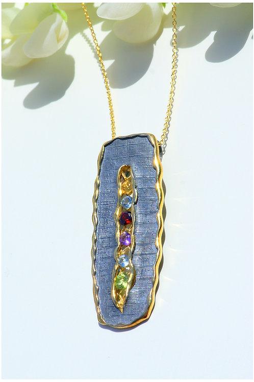 Silver Pendant with Semi-Precious Stones
