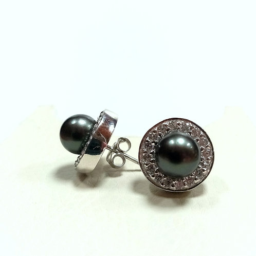 Silver Earrings with Black Pearl