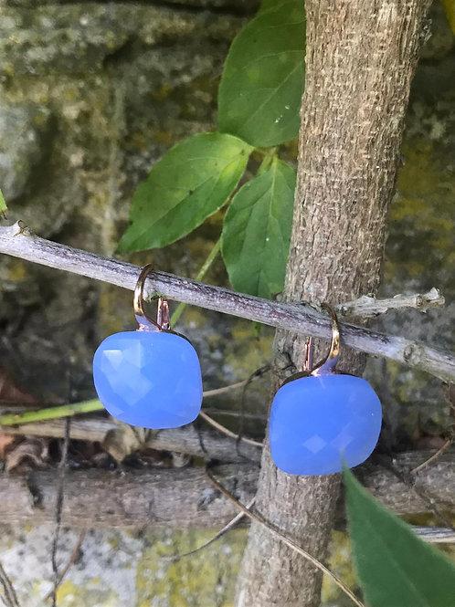 Cube Chalcedony Earrings