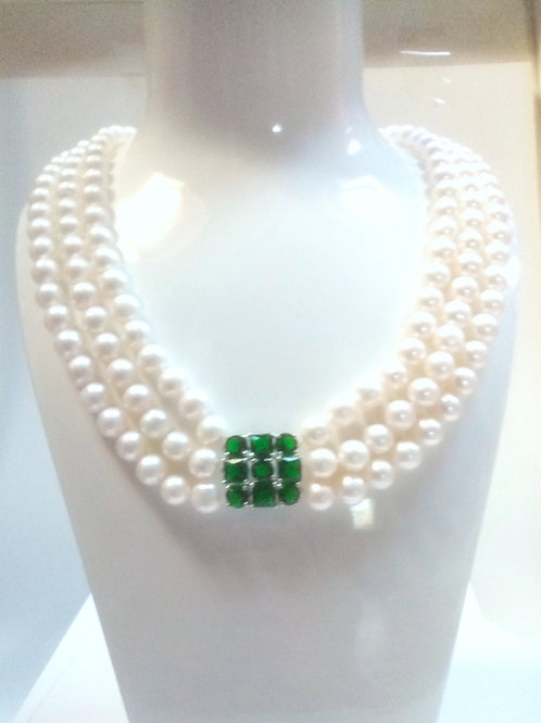Triple Strand Fresh Water Pearl Necklace