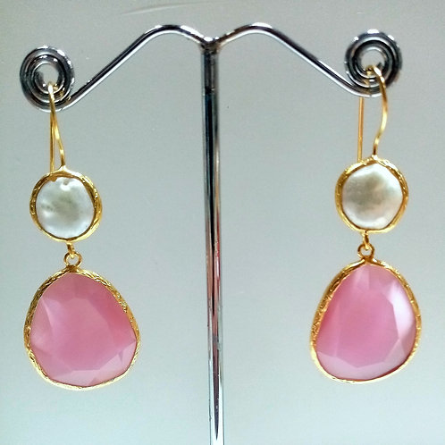 Cats Eye gemstone,with freshwater pearl.