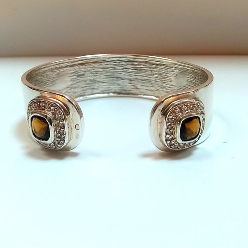 Silver Bangle with Quartz/ Topaz