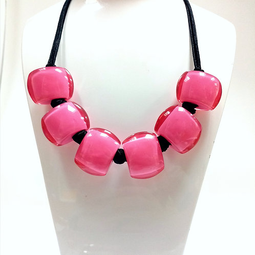 Hot Pink Resin Necklace