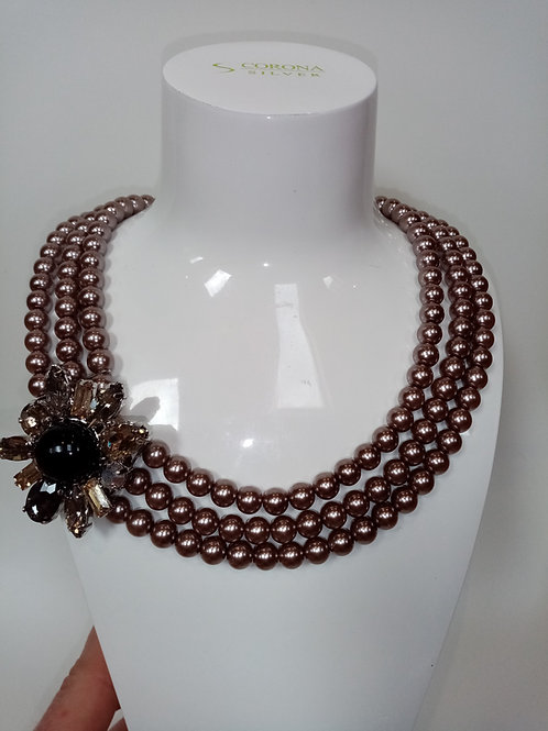 Pearl Necklace with Swarovski Flower
