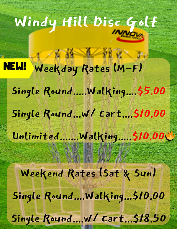 Disc Golf Rates _ Windy Hill Weekday Rat