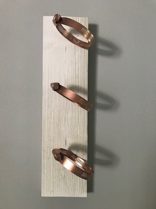 White Vertical Mount with Copper Hardware.