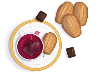 Madeleines à la vanille, option coque en chocolat