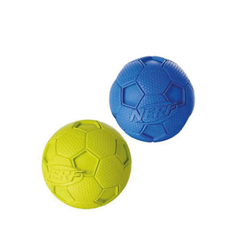 "Nerf 3.25"" Medium Soccer Squeak Ball Green & Blue"