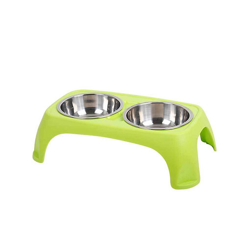 Claws & Paws Plato Doble Acero C/Base - Mediano