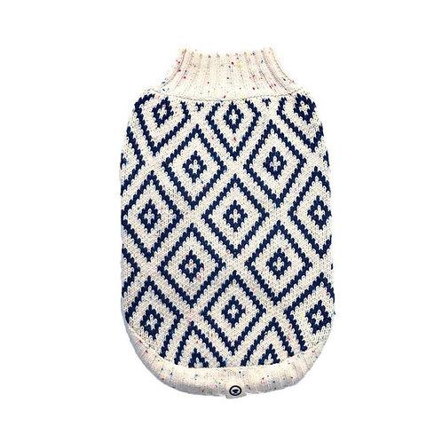 Hot Dogz Sweater Rombo Azul Talla S