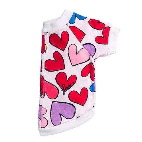 Hot Dogz Chompa Algodón Orgánico T-Shirt Corazón talla L