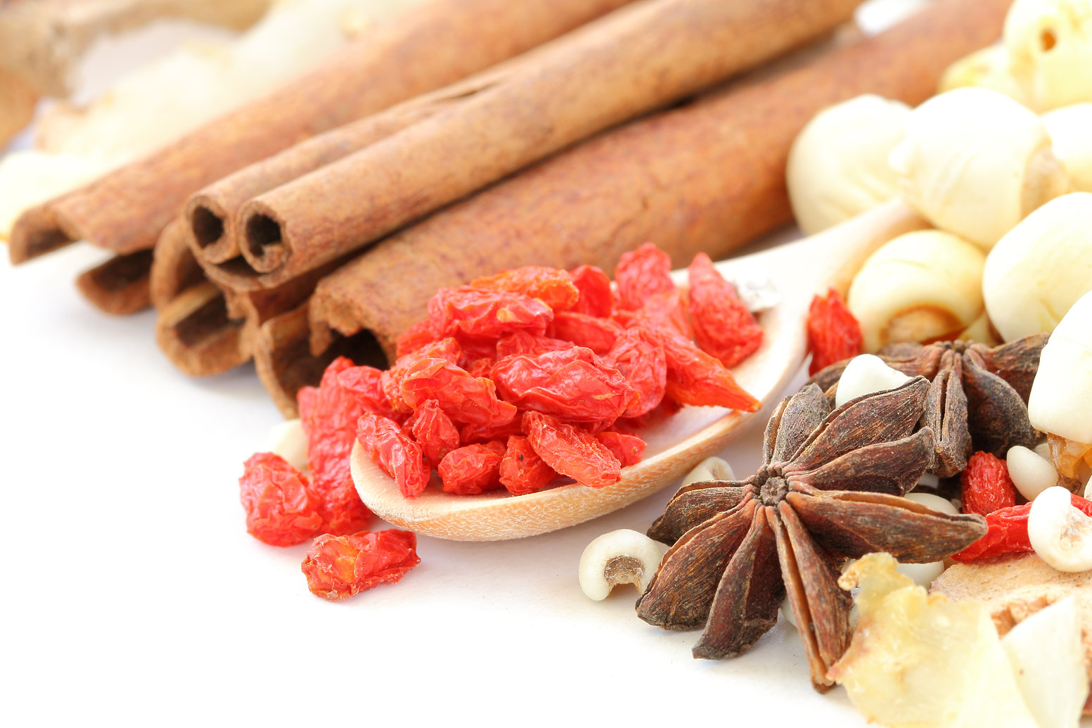 Many kind of Chinese herbal on white bac