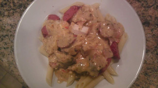 Chicken and sausage alfredo
