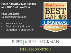 Pipes Miles Beckman Ranked as a U.S. News – Best Lawyers® 2021 Best Law Firm