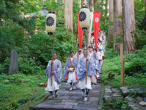 Yamabushi near the Five-storied Pagoda on Mt. Haguro