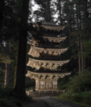 Mt. Haguro Five-Storied Pagoda in the evening