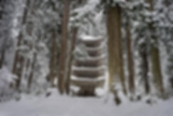 Mt. Haguro Five-storied Five Story Pagoda in the snow Haguro Shugendo Yamabushi Dewa Sanzan
