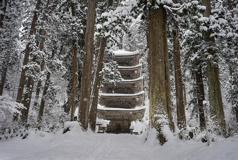 Mt. Haguro Five-storied Five Story Pagoda in the snow Haguro Shugendo Yamabushi Dewa Sanzan