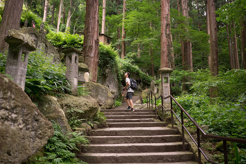 hiking Yamadera temple during the summer.