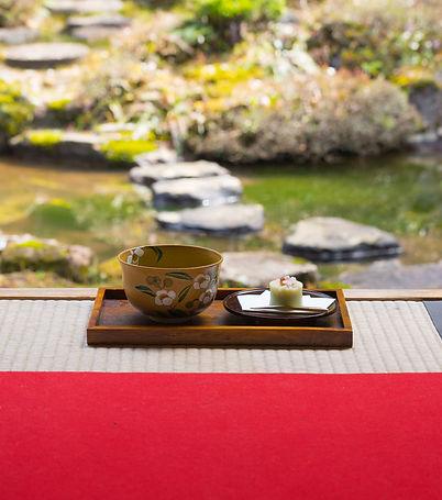 Matcha Green Tea in the gardens of Gyokusenji Tsuruoka