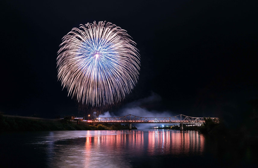 Big fireworks in Oishida Yamagata Japan