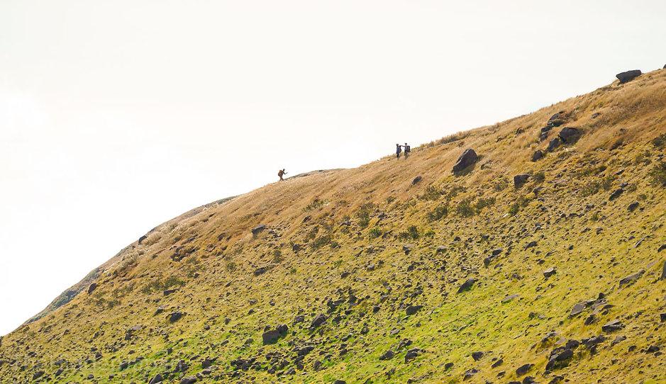 Hiking on the peak of Mt. Chokai