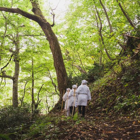 Yamabushi monks training on Mt. Kinbo.