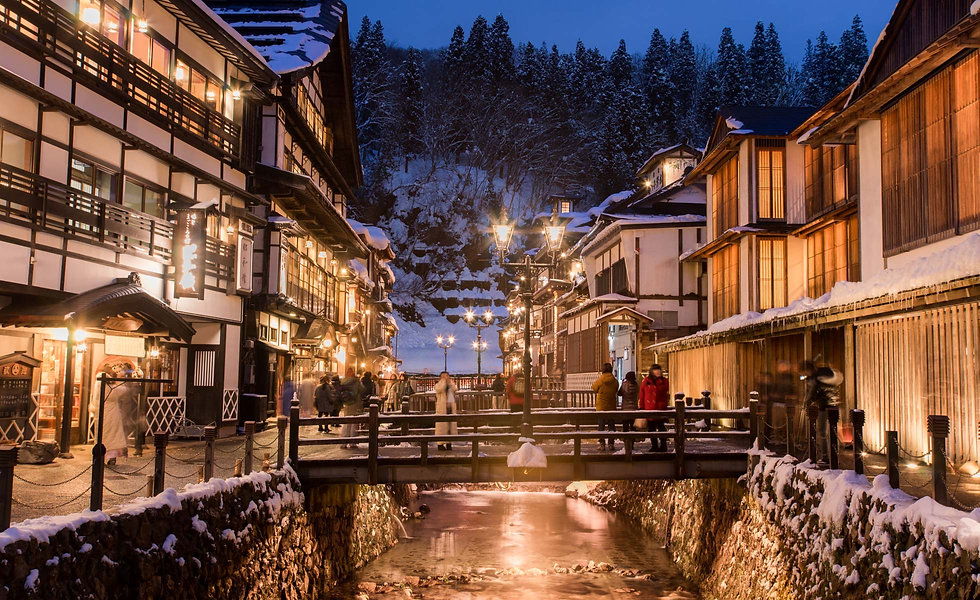 Ginzan Onsen during the winter.