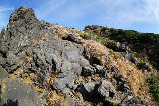 The rocky terrain near the peak.