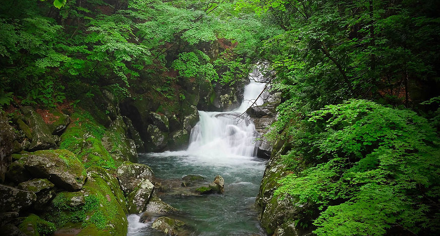 The waterfalls of the Chokai Geopark.