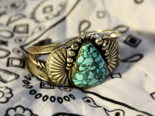 Large Turquoise and Heavy Silver Fan Cuff Bracelet