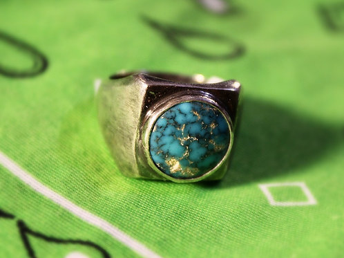 Round Turquoise, Square Shank Ring Size 10 3/4