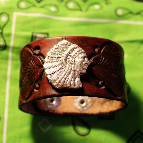 Leather and Silver Chief Bracelet