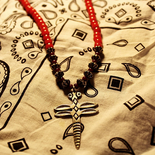 Red Trade Beads and Silver Dragonfly Necklace