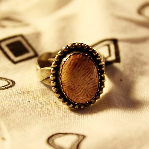 Fossilized Coral Ring Size 10