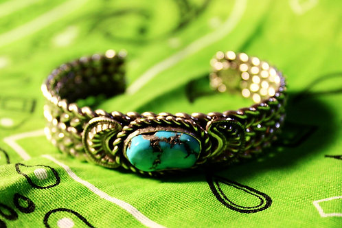 Rough Cut Turquoise and 5 Shank Silver Cuff Bracelet