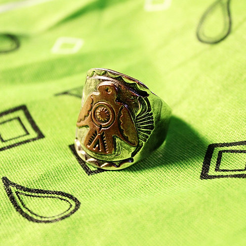 Silver and Copper Thunderbird Ring Size 10