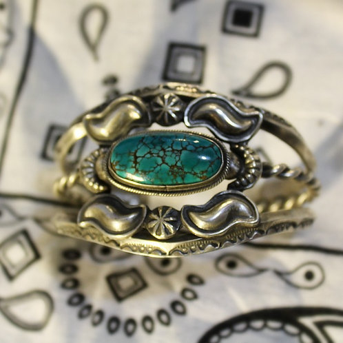 """Floating"" Turquoise and Silver Reposse Cuff Bracelet"