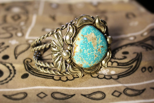 Large Turquoise and Silver Cuff Bracelet