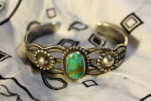 Turquoise and Silver Concho Cuff Bracelet