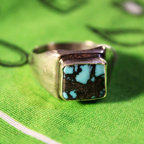 Heavy Matrix Square Turquoise Ring Size 10 1/2
